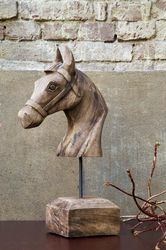 Ornament 25x14x48 cm HORSE hout weather barn - Light & Living